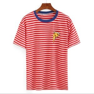 Boutique Tops - Striped tee with pizza graphic NWT